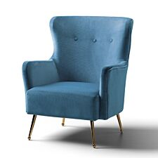 Marseille Wingback Accent Chair Velvet Peacock Gold Legs
