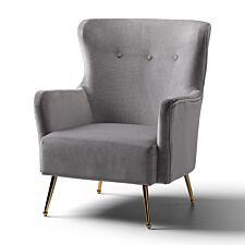 Marseille Wingback Accent Chair Velvet Grey Gold Legs