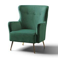 Marseille Wingback Accent Chair Velvet Jasper Gold Legs