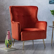 Marseille Wingback Accent Chair Velvet Apricot Gold Legs