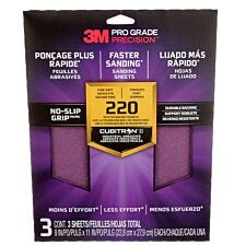 3M(TM) Pro Grade Precision(TM) Faster Sanding  Sanding Sheets 220 Grit - Pack of 3