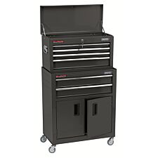 """Draper 24"""" Combined Roller Cabinet and Tool Chest (6 Drawer) - Black"""