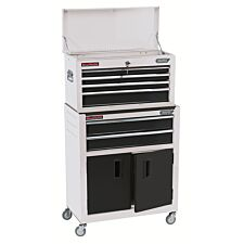 """Draper 24"""" Combined Roller Cabinet and Tool Chest (6 Drawer) - White"""