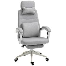 Solstice Encke Home Office Padded Chair with Manual Footrest Recliner - Grey