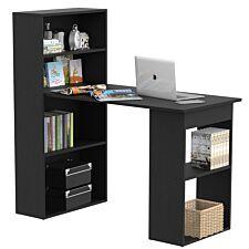 Zennor 120cm Modern Computer Desk with Bookshelf & Shelves - Black
