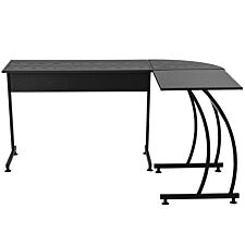 Zennor Roche Gaming  L-Shaped Corner Desk with Steel Frame & Adjustable Feet - Brown/White