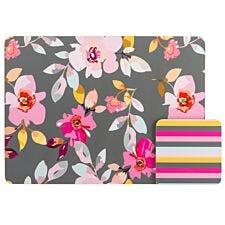 Gardenia Floral Placemat & Stripe Coaster Set