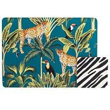 Madagascar Cheetah Placemat & Stripe Coasters Set