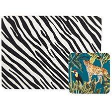 Madagascar Stripe Placemat & Cheetah Coaster Set