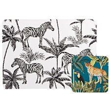 Madagascar Zebra Repeat Placemat & Cheetah Coaster Set