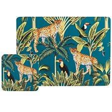 Madagascar Teal Cheetah Placemat & Coaster Set