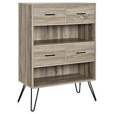 Solstice Tarvos Retro Bookcase with Bins - Distressed Grey Oak/Sonoma Oak