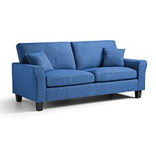Amba 3 Seater Fabric Sofa Tweed Blue