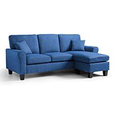 Amba Corner Fabric Sofa Tweed Blue