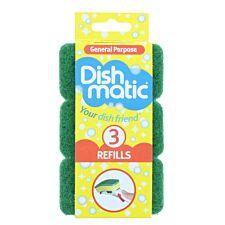 Dishmatic Washing Up Brush Sponge Refills - Set of 3