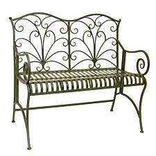 Lucton Furniture Metal Garden Bench - Green