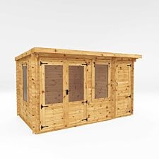 Mercia 4.1m x 2.4mm Pent Log Cabin With Side Shed - 19mm