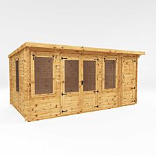 Mercia 5.1m x 2.4mm Pent Log Cabin With Side Shed - 19mm