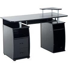 Zennor Thorpe Desk with Drawers & Sliding Keyboard Shelf - Black