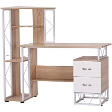 Zennor Decorah Workstation Desk with Drawers & Shelves - Oak/White