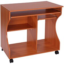 Zennor Wheeled Compact Desk - Cherry Wood