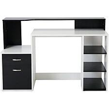 Zennor Galena Multi Level Computer Desk with Shelves & Storage - Black/White