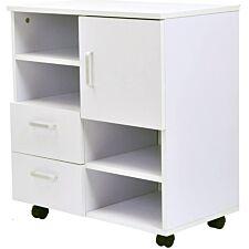 Zennor Printer Unit & Storage Cabinet with Wheels - White