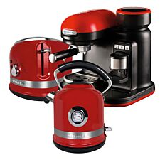 Ariette ARPK33 Moderna 1.7L Kettle, 2-Slice Toaster, & Espresso Coffee Maker - Red