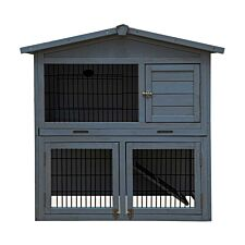 Charles Bentley Two Storey Pet Hutch With Play Area - Grey