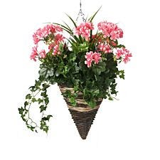 Closer2Nature Artificial Pink Geranium Display in a 12'' Cone Willow Hanging Basket