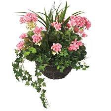 Closer2Nature Artificial Pink Geranium Display in a 12'' Round Willow Hanging Basket