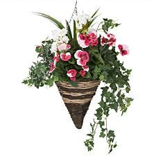 Closer2Nature Artificial Pink Pansy and White Geranium Display in a 12'' Cone Willow Hanging Basket