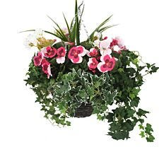 Closer2Nature Artificial Pink Pansy and White Geranium Display in a 12'' Round Willow Hanging Basket
