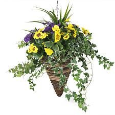 Closer2Nature Artificial Purple and Yellow Pansy Display in a 12'' Cone Willow Hanging Basket