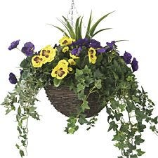 Closer2Nature Artificial Purple and Yellow Pansy Display in a 12'' Round Willow Hanging Basket