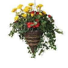 Closer2Nature Artificial Begonia and Geranium Display in a 12'' Cone Willow Hanging Basket