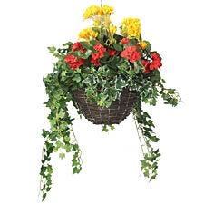 Closer2Nature Artificial Begonia and Geranium Display in a 12'' Round Willow Hanging Basket