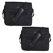 Wenger Set of 2 Business Messenger Bags 16 Inches With Padded Laptop Computer Pocket Black