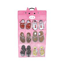 Jocca Children's Pig Shoe Organiser with 12 Slots - Pink