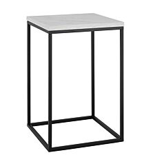 Modern Square Side Table - Faux White Marble