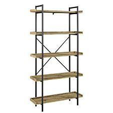 "68"" Industrial Metal Bookcase - Barnwood"