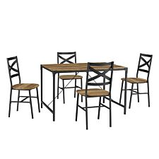 5-Piece Angle Iron Dining Set w/X Back Chairs - Reclaimed Barnwood