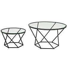 Modern Nesting Tables Set of 2 - Glass/Black