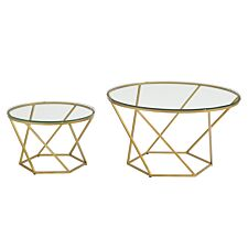 Modern Nesting Tables Set of 2 - Glass/Gold