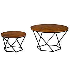 Modern Nesting Tables Set of 2 - Walnut/Black