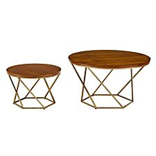 Modern Nesting Tables Set of 2 - Walnut/Gold