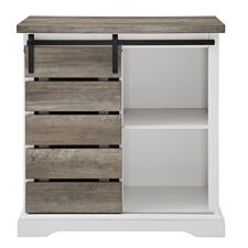 """32"""" Rustic Farmhouse TV Stand - Solid White/Grey Wash"""