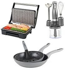 Salter COMBO-7065 Cosmos 3 in 1 Blender, Marble Health Grill, and Marble Frying Pan Set - Grey
