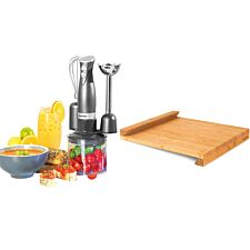 Salter COMBO-7066 Cosmos 3-in-1 Blender Set & Bamboo Worktop Chopping Board with Lid - Grey