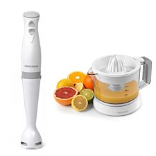 Progress COMBO-7077 350W Hand Stick Blender and 25W Electric Citrus Juicer with Adjustable Pulp Filter - White